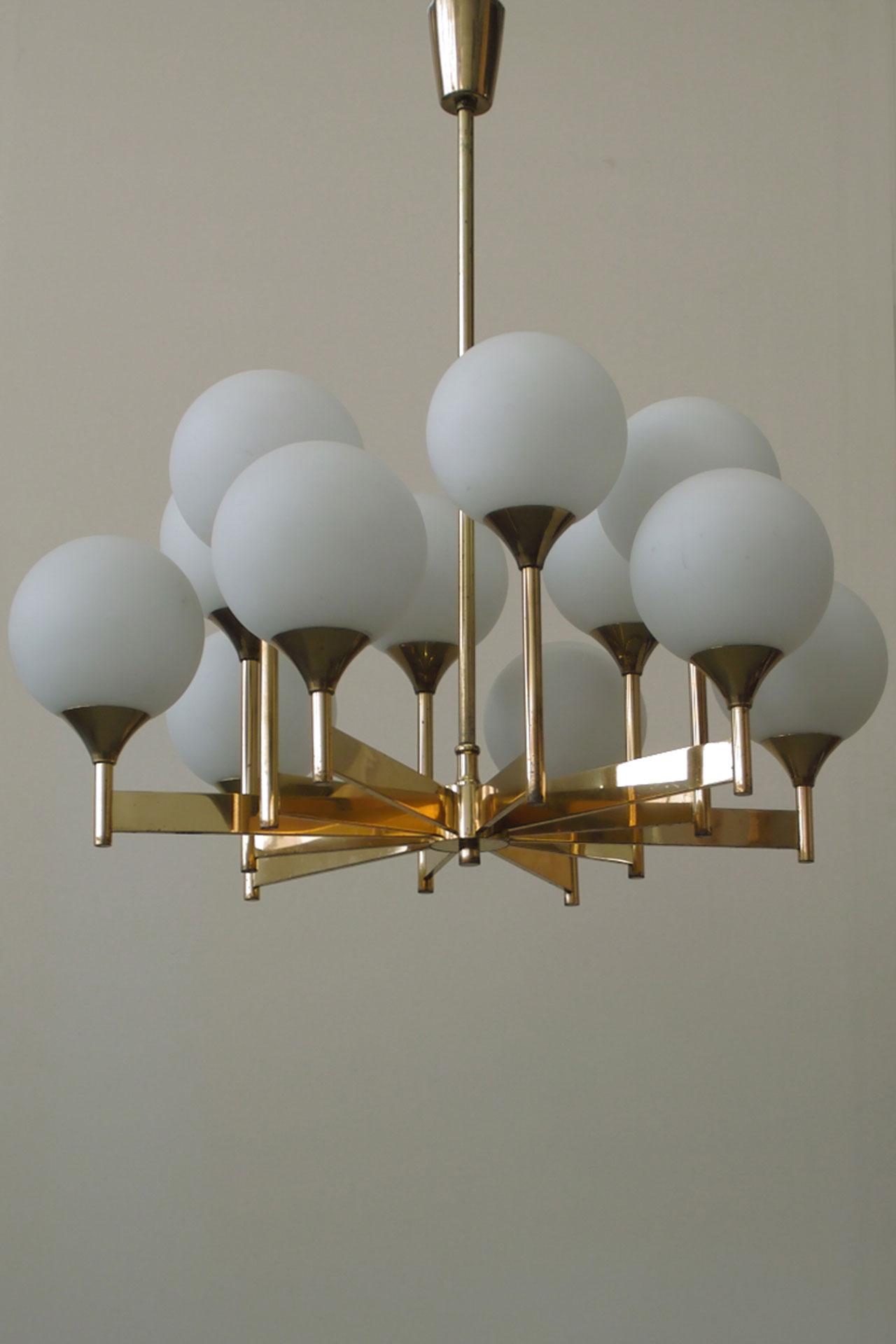 Lampedo a twelve light scandinavian brass and glass chandelier a twelve light scandinavian brass and glass chandelier arubaitofo Images